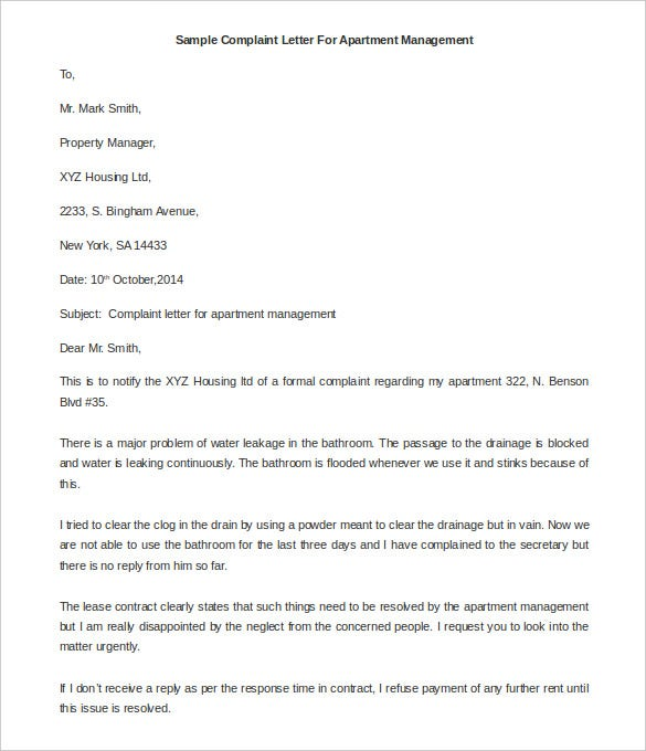 complaint letter for apartment management details file format