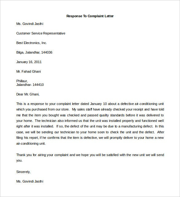 Free complaint letter template 20 free word pdf documents free response to complaint letter template spiritdancerdesigns Image collections