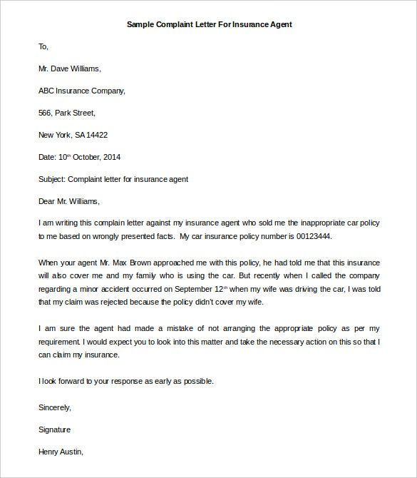 template of complaint letter for insurance agent