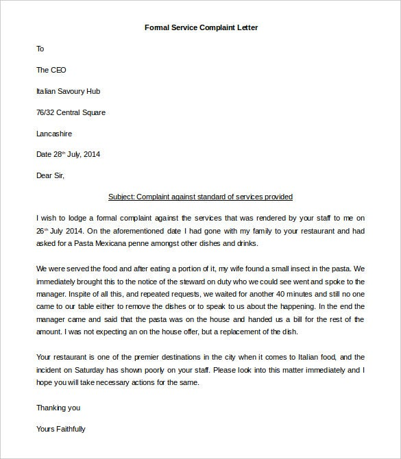 free formal service complaint letter template in ms word