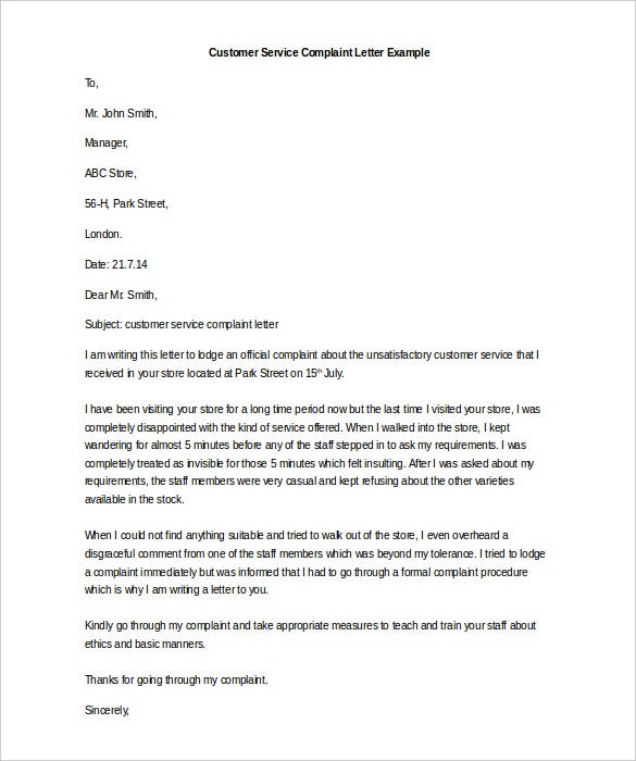 Free complaint letter template 32 free word pdf documents editable customer service complaint letter template download spiritdancerdesigns Images