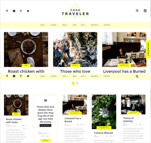 responsive yellow blog wordpress theme