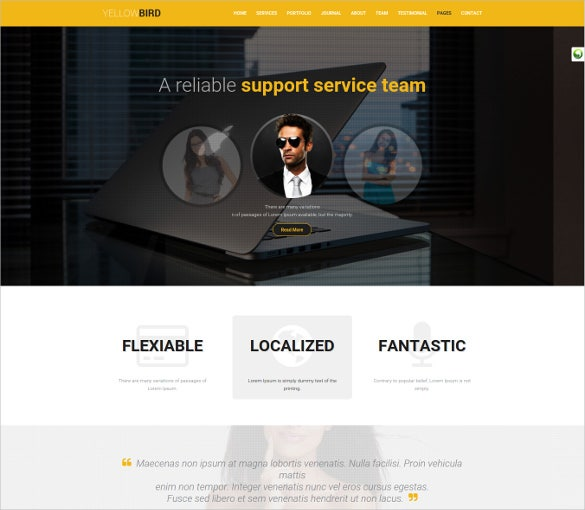 multi purpose yellow wordpress theme