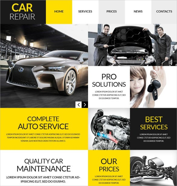 car workshop yellow wordpress theme