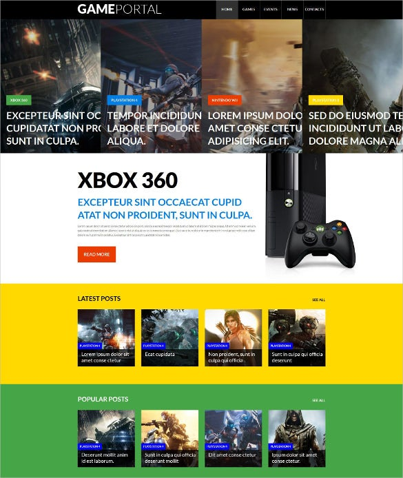 video gaming entertainment yellow wordpress template