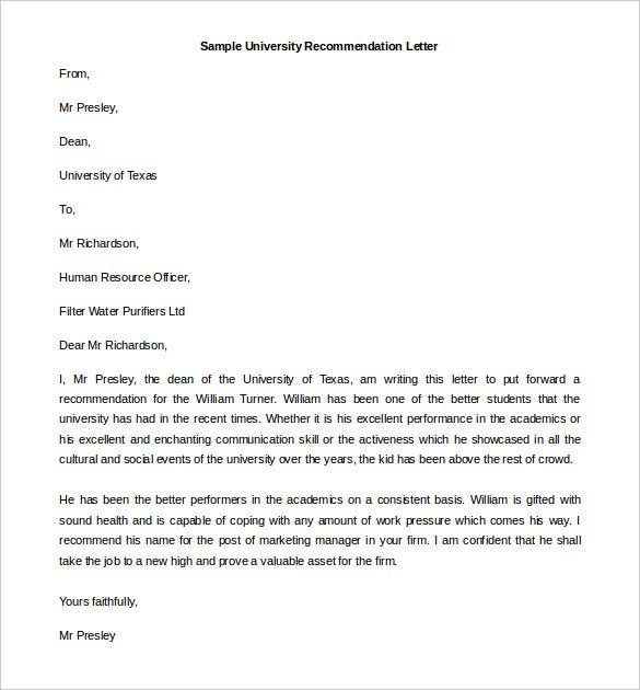 university recommendation letter template