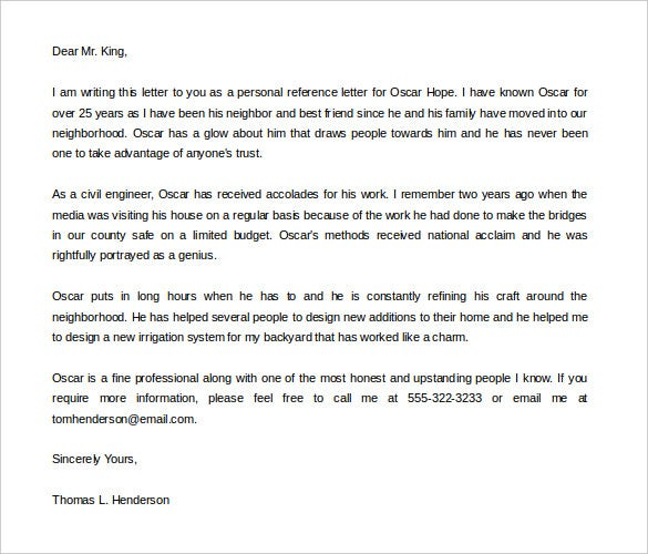 Personal Letter Of Recommendation Sample Free Download  Free Letter Of Recommendation
