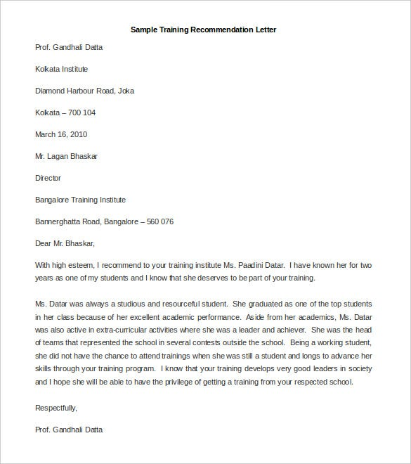 Download Sample Training Recommendation Letter Template