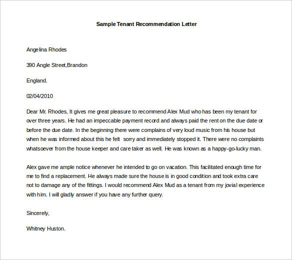Letter of Recommendation, Free Sample Tenant Recommendation Letter Word Format