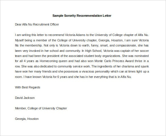Sorority Recommendation Letter Template MS Word