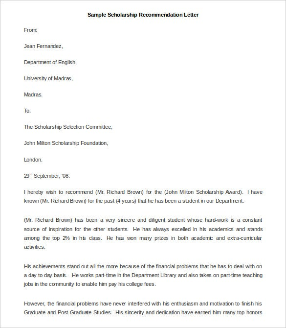 Exceptionnel Scholarship Recommendation Letter Template Sample Download