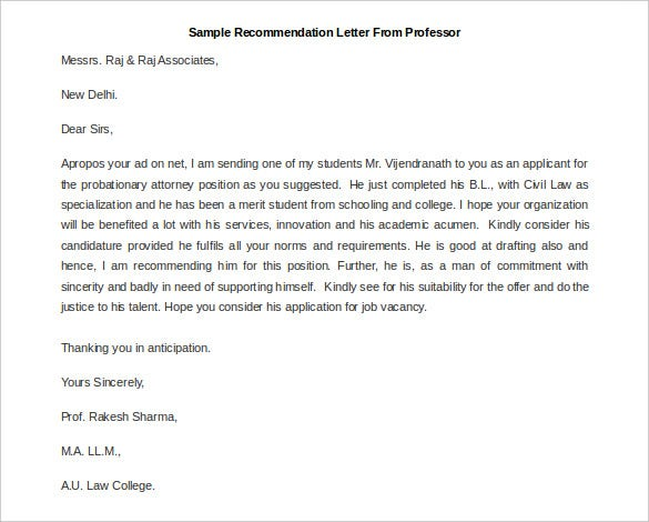 Elegant Printable Sample Recommendation Letter From Professor. Free Download Intended Free Letter Of Recommendation