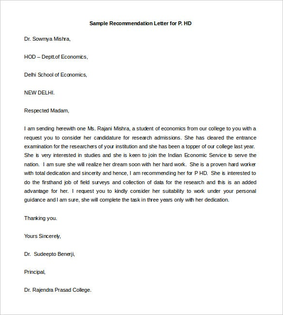 free sample recommendation letter for phd