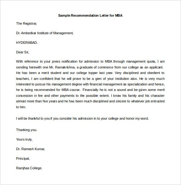Sample Recommendation Letter For MBA Free Editable Intended Example Letter Of Recommendation