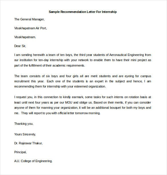 Printable Sample Recommendation Letter For Internship. Free Download  Free Recommendation Letters