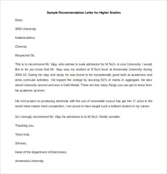 Free Recommendation Letter For Higher Studies Word Format