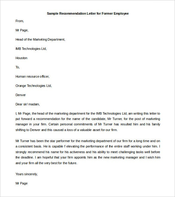 21 Recommendation Letter Templates Free Sample Example Format – Employment Letter of Recommendation Template