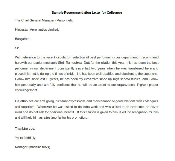 Elegant Sample Recommendation Letter For Colleague Template