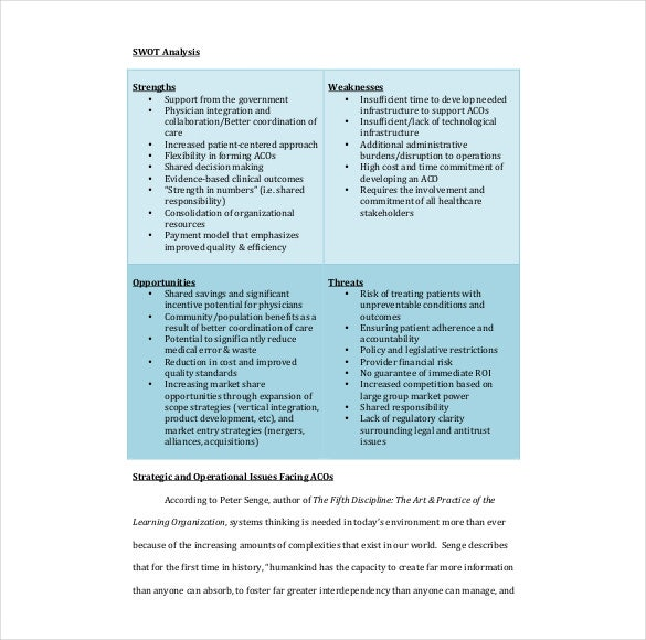 Healthcare Swot Analysis  Free Sample Example Format