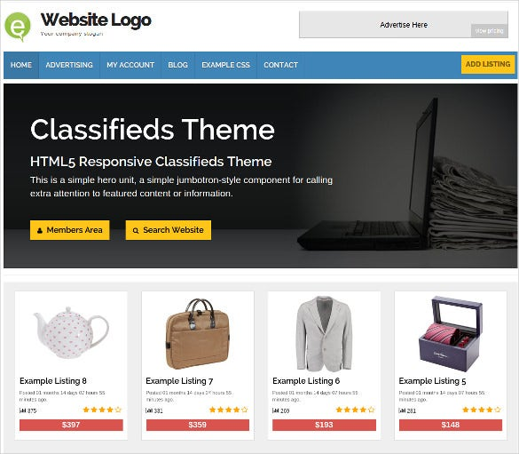 classified marketplace wordpress template