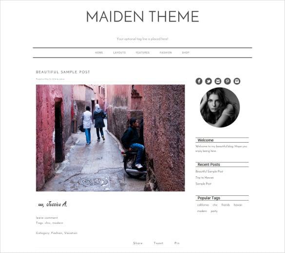 simple blog content sharing wordpress templat