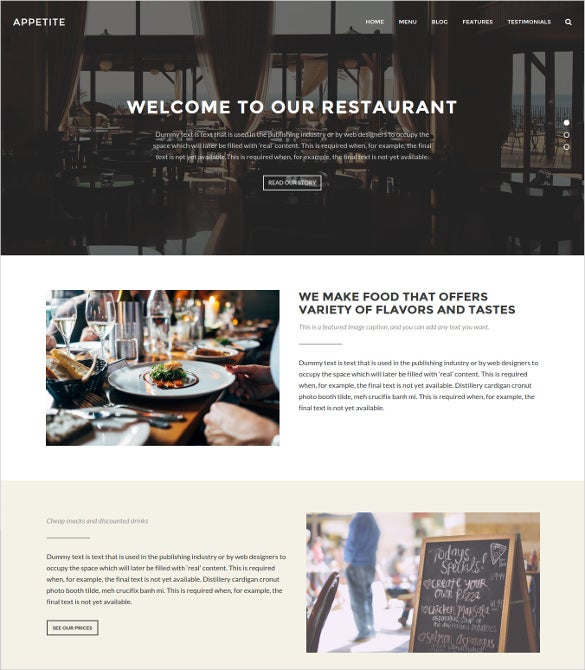 restaurant content sharing wordpress them