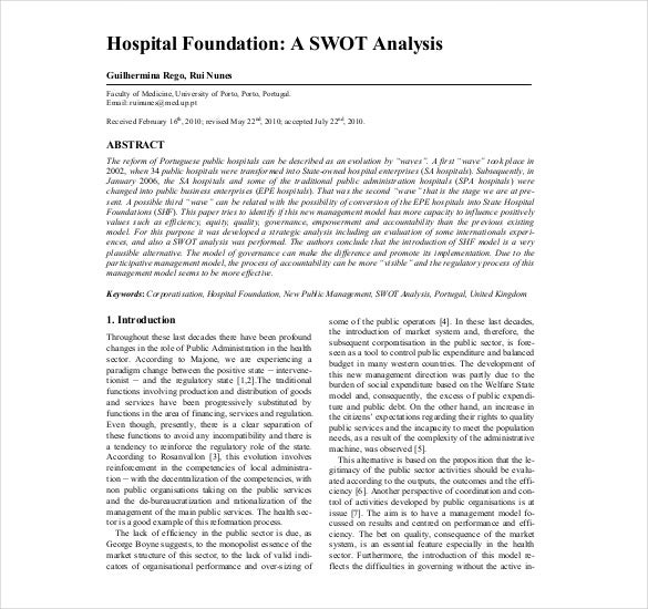 Hospital Swot Analysis Templates  Free Sample Example Format