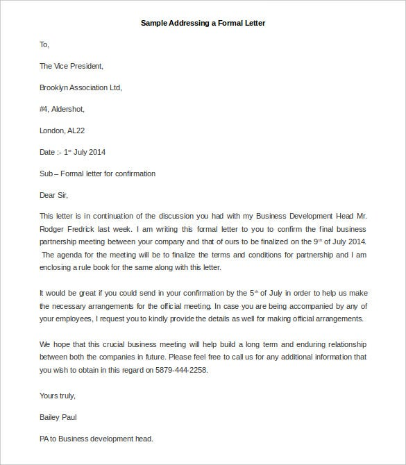 sample addressing a formal letter template free word doc