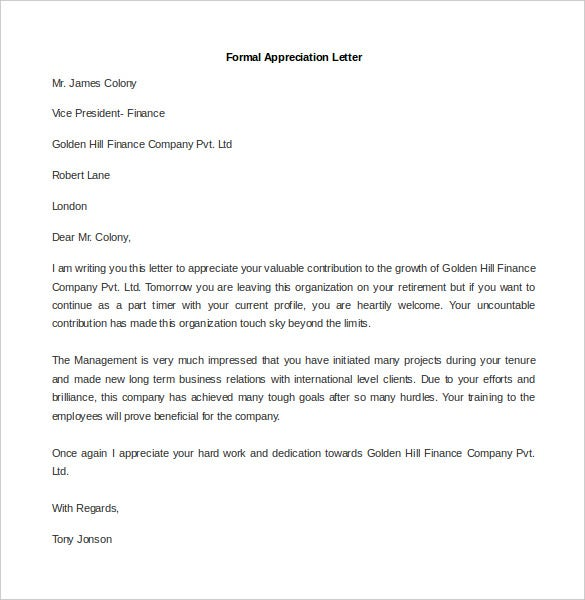 sample formal appreciation letter template word format
