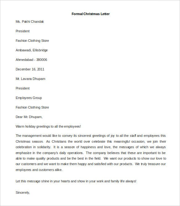 download sample formal christmas letter template for free