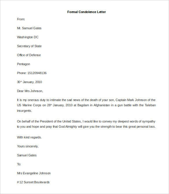 31 Best Formal Letter Template Free Sample Example Format