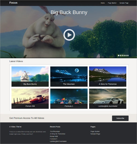 free simple video wordpress theme
