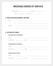 Blank Wedding Order of Service Template