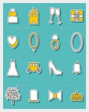 Collection of Weding Stickers Template