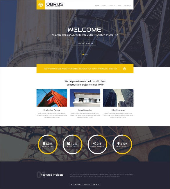 minimalistic construction company wordpress themes