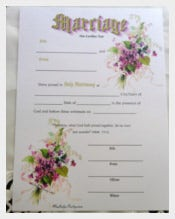 Water Colors Wedding Certifiacate Template