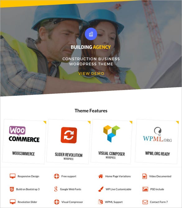 building construction company wordpress theme
