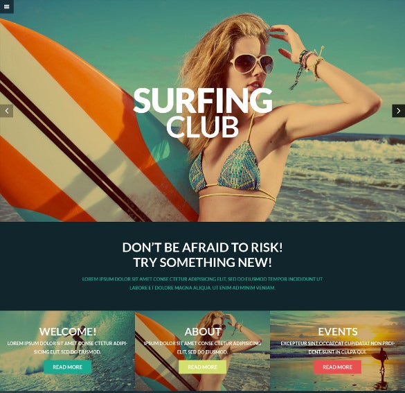 surfing sports club wordpresstheme