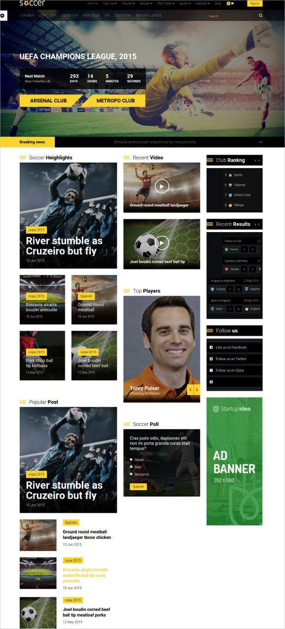 wordpress theme for soccer sports club