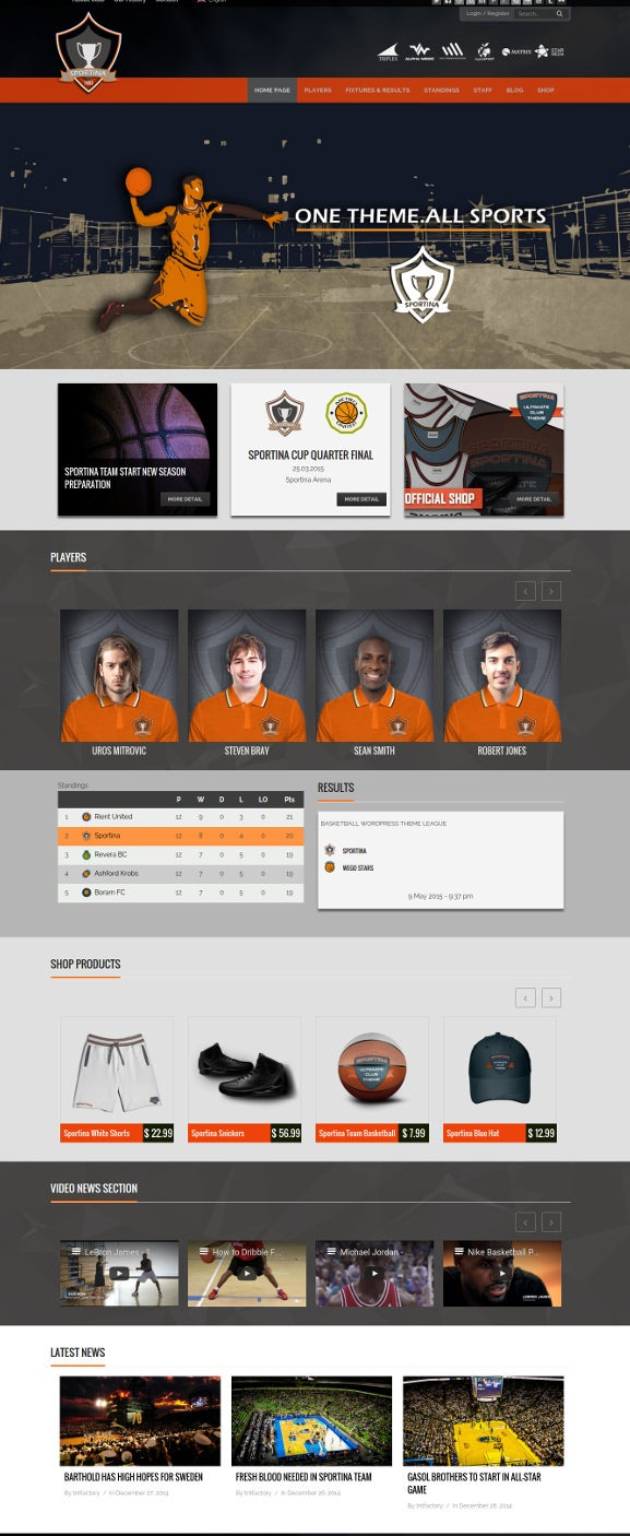 word press theme for basket ball sports club