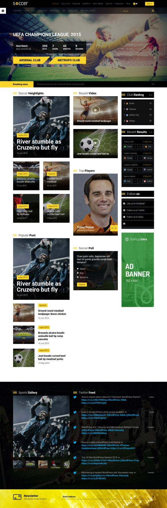 word press theme for soccer sports club