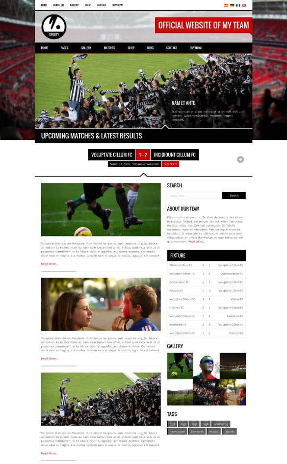 word press theme for football sports club