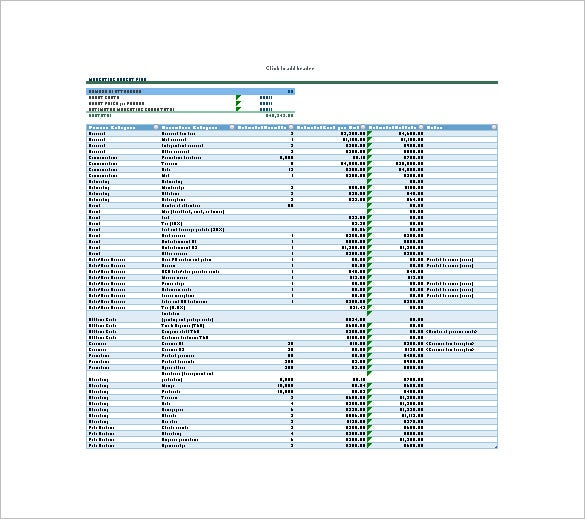 marketing budget plan excel template free download