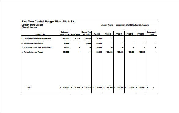 five year capital budget plan pdf free download