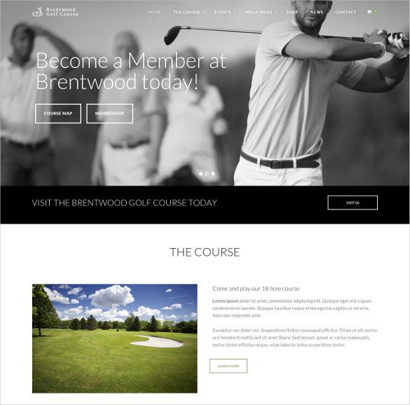 golf course membership wordpress theme