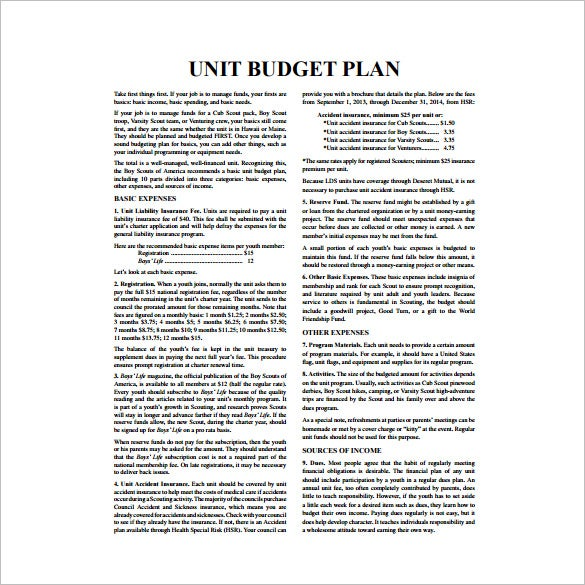 unit budget plan pdf template free download