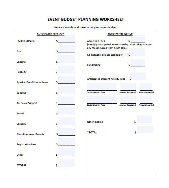 financial planning worksheet free