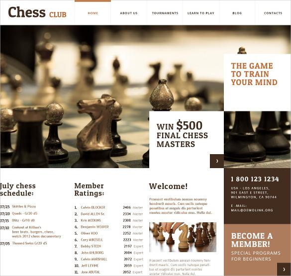 chess club membership wordpress theme
