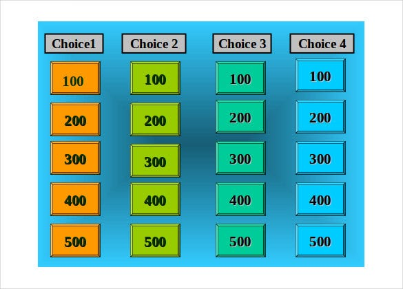 smartboard jeopardy game template