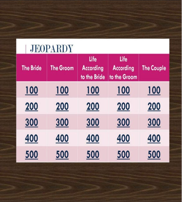 Wedding Bridal Jeopardy Point